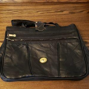 Genuine Leather 3 Zipper Compartment Purse - Black